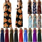 Women Sleeveless Racerback Loose Plain Maxi Casual Long Dresses with Pockets
