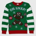 Well Worn Boys' Oh Snap Gingerbread Ugly Christmas Sweater – Green S