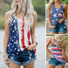 Women Sleeveless Patriotic Stripes Star American Flag Print Tank Top Blouse  New