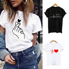Women Casual Short Sleeve Heart Printed Blouse T Shirt Tee Shirts Fashion Tops