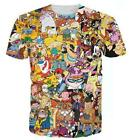 Fashion 90s Anime Cartoon Collage 3D Print T-Shirt Women/men's Short Sleeve image