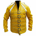 Freddie Mercury Concert Unisex Strap Yellow Synthetic Leather Jacket