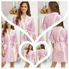 Nine X Satin Dressing Gown Floral Wedding Robe Bride and Bridesmaid Alice Pink