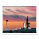 Space X Falcon Heavy Demo Mission Launch Pad Wall Art Print Framed 12x16