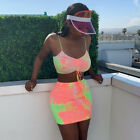 US Women 2 Piece Bodycon Two Piece Crop Top and Skirt Set Bandage Dress Party