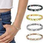 Silver Stainless Steel Hollow & Solid Heart Eternity Love Magnetic Bracelet H4W8