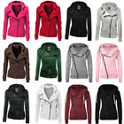 Women Zipper Up Jumper Hoodies Hooded Sweatshirt Ladies Hoody Jackets Coats