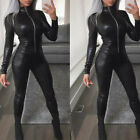 Clubwear Romper Jumpsuit Bodysuit Costume Faux Leather Long Sleeve Pu Leather