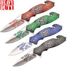 """8"""" Overall Spring Assisted Folding Pocket Knife Graphic Art Handle Steel Blade"""