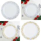 "Plastic 9"" White Scalloped Trimmed Plastic Plates for Lunch Dishes Disposable"