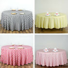 ROUND Checked Gingham Polyester Tablecloth Dinner Wedding Party Linens Banquet