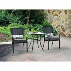 Outdoor Furniture Set Bistro Deck Patio Garden Table Metal Gray Cushioned Chairs