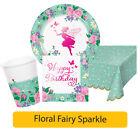 Floral Fairy Sparkle Birthday Range - Girl Happy Birthday Tablewear Decorations