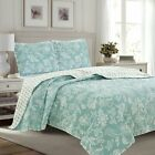 Twin Full Queen King Bed Aqua Blue Diamond Vintage Floral 3pc Quilt Coverlet Set image