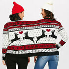 Two Person Combine Ugly Sweater Couples Novelty Christmas Blouse Top Shirt US