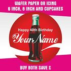 COCA COLA PERSONALISED EDIBLE ROUND BIRTHDAY CAKE TOPPERS & CUPCAKES £9.99  on eBay