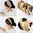 Women Headband Straw Weaving Top Knotted Cross Wide Hair Hoop Bohemian Headband