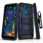 for LG K40, [Tank Series] Phone Case Cover & Holster Belt Clip +Tempered Glass