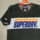 new SUPERDRY T-SHIRT retro 80s text vtg-look Triple Drop Pop Panel charcoal gray image