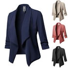 03 Plus Size Womens Collar Suit Jacket Coat Lady 3/4 Sleeve Blazer Cardigan 8-22