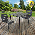 3pc/5pc Bistro Sets Outdoor Garden Patio Furniture Slatted Grey Table & Chairs
