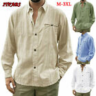 US Mens Baggy T-Shirt Cotton Linen Tee Hippie Shirts Blouse Long Sleeve Yoga Top image