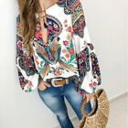 Women Casual Floral Printed Long Puff Sleeve Loose Blouse Tops Fashion Tee New