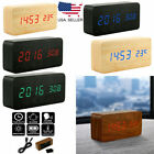 Wood Cube LED Voice Control Digital Desk Clock Wooden Style Room Temperature US