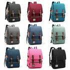 Leather Canvas Backpack Men Women Laptop Bag Rucksack Satchel School Travel Bag  image