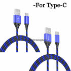 2 Pack 3FT 6FT 10FT Type C Cable Heavy Duty Charger Charging For Samsung LG Moto