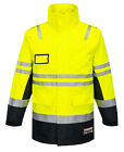 New Anti Static Polyester Flame Retardant Arc Rated Long Line Jacket YELLOW NAVY