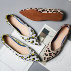 Women's Line Woven Pointed Loafers Casual Pregnant Leopard Print Flats Shoes