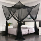 Black 4 Corner Post Mosquito Net Curtain Bed Canopy Outdoor Indoor image