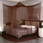 Coffee 4 Corner Post Mosquito Net Curtain Bed Canopy Outdoor Indoor image