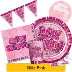PINK GLITZ - ALL AGES - Birthday Party Range - Tableware Supplies Decorations