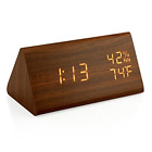 Oct17 Wooden Alarm Clock Wood LED Digital Desk Clock Upgraded with Time Tempe...