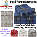 Soft Velvet Plaid Flannel Bed Sheet Set With Flat Sheet Fitted Sheet Pillow Case image