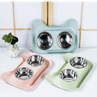 Double Feeding Bowl Food Stainless Steel Cat Anti Slip Pet Safe Durable Cute