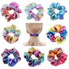 4 8Pcs Shiny Metallic Hair Scrunchies Ponytail Holder Elastic Ties Bands Girl