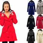 jyo 007Women's Ladies Parka Hooded Belt Double Breasted Fleece Parka Coat Jacket $17.95 AUD on eBay