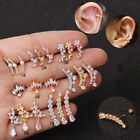 20G CZ Surgical Steel Ear Tragus Cartilage Helix Stud Barbell Earrings Piercing image