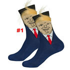 1Pair Unisex President Donald Trump Socks with 3D Fake Hair Crew Sock Funny Gift