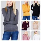 Women Long Sleeve  T-Shirt Slim Fit Turtle neck Pullover High Tops Casual