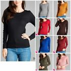 Women Thermal Crew Neck Long Sleeve Basic Top T-Shirt Solid Plain Waffle S-3XL
