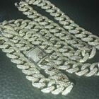 Kyпить Mens Cuban Miami Link 12mm Chain 925 Silver 40-60ct Man Made Diamonds 18-30