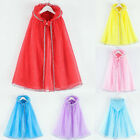 Kid Children Girl Cosplay Princess Pageant Gown Cape Birthday Party Hooded Cloak