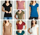 Women Basic Short Sleeve Shirts V-Neck Plain Solid T-Shirt Top S-3XL