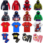 Toddler Kids Boys Superhero Hoodie Coat Sweatshirt T Shirt Outfits Clothes Set