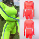 Two Piece Sets Women Reflective Striped Patchwork Sexy Top and Short Tracksuit