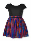 Nannette Girls' Pleated Stripe Glitter Dress